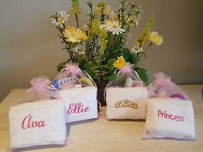 Girls/Kids Pre-filled Pamper Party, Spa Gift Bags with personalised face cloth