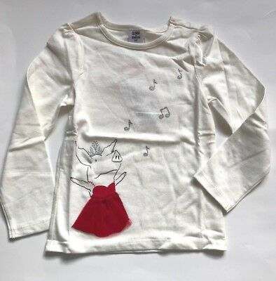 Gymboree Front and Back Olivia Tee Ivory Red Size 2T 3T MSRP $27 NWT