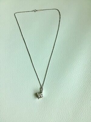 """Tiffany & Co Sterling Silver Atlas Cube Roman Numeral Necklace 16 """" /7gr"""