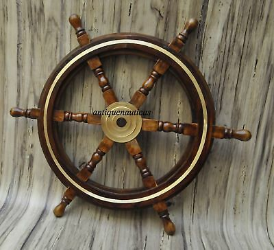 "Wooden 24""Nautical Ship Steering Wheel Pirate Decor Wood Brass Fishing Wall Boat"