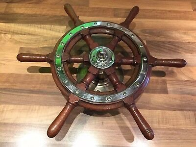 Vintage Original Mahogany Chrome Brass Ships Wheel Maritime Marine Nautical Boat