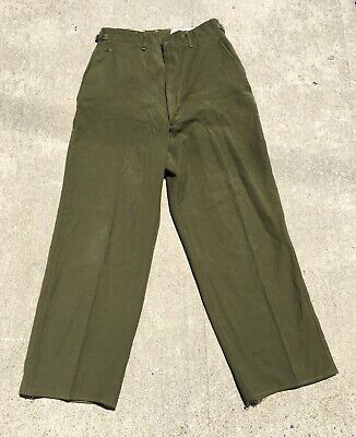 Vintage 1940s Vtg 40s WWII US Army Military Green Field Pants Combat Trousers M