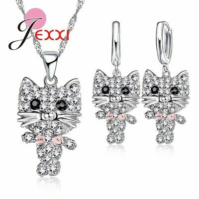 Cat Collier Cubic Zirconia Cute Necklace and Ear Rings 925 Sterling Silver