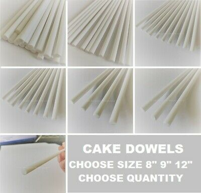 """CAKE DOWELLING  Rods 8"""" 9"""" 12"""" Support Tiered Cakes Wedding Sugarcraft DOWELS"""