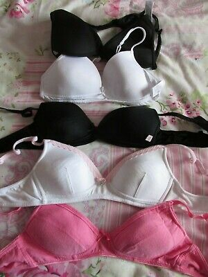 Job Lot 5 Slightly Padded Nonwired Bras Size 32Aa Next New Look Marks & Spencer