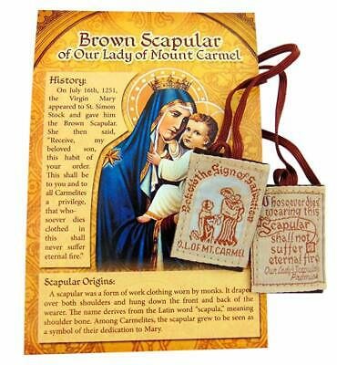 Brown Scapular Gift Pack Traditional Wool Catholic Embroidered with Cord and Pam