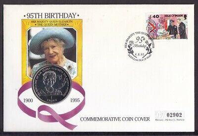 Mercury Coin Cover- Isle Of Man 1995 Queen Mum 95th Birthday With B/U Crown Coin
