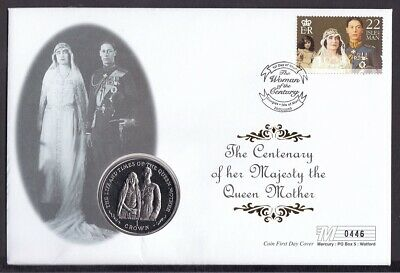Mercury Coin Cover-2000 Isle Of Man Queen Mother Woman Century B/U Crown Coin