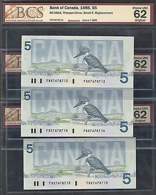 1986 FNX $5.00 BCS BC-56bA UNC-62 (3) Consecutive REPLACEMENT NOTE Five Dollars