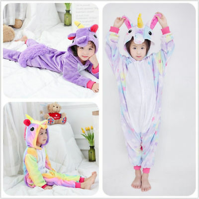 #Kids Girls Rainbow Unicorn Kigurumi Animal Cosplay Costume Pajamas Sleepwear#-r