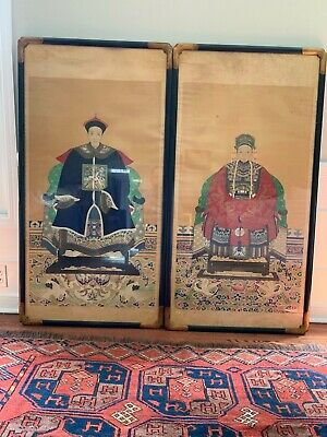 Antique Chinese Ancestor Paintings 19th Century Imp. Court Civil Servants 4FT