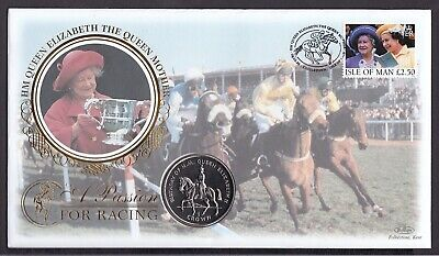 Benham Coin Cover-Isle Of Man 1998 Queen Mum Passion Horse Racing With B/U Crown