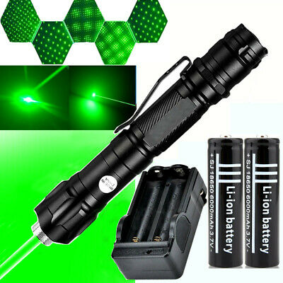 50Mile Powerful 1mw 009 Green Laser Pointer Pen Light+2x18650 Battery+Charger uk
