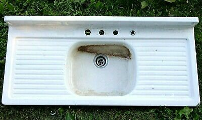 "54"" FARMHOUSE KITCHEN SINK, White Enamel, Singe Basin, Double Drainboard"