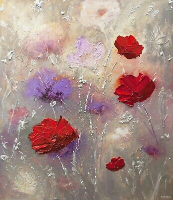 Red Poppies modern flowers abstract painting thick texture fine art Osnat