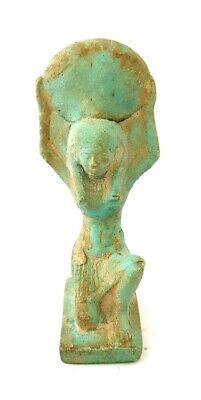 Rare winged Isis Huge Ancient Egypt Faience Nursing Egyptian Bead Necklace art