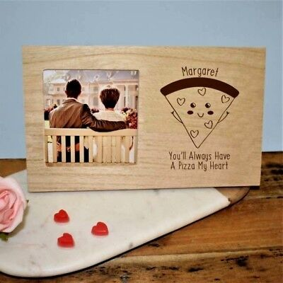 Personalised Pizza My Heart Panel Photo Frame Anniversary Valentines Day Gift