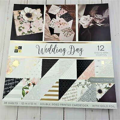 """Wedding Day Paper Pad 12"""" x 12"""" By DCWV Scrapbooking,Floral,Foil Paper"""