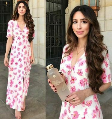 ZARA BLOGGERS V NECK A-LINE Button Up FRONT FLOWING MAXI LONG FLORAL PRINT DRESS