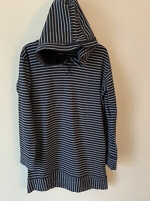 Girls Next Age 9 Navy Blue Stripped Hooded Hoodie Jumper