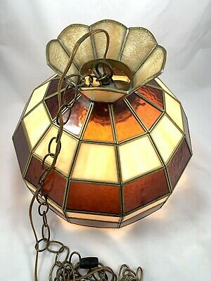Vintage Stained Glass Swag Lamp 1960s Parlor Pool Table