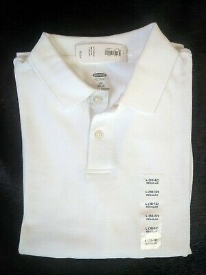 old navy boys long sleeved bright white uniform polo: size L nwt $12.94