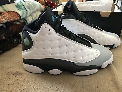 best sneakers e7c55 9f351 NIKE AIR JORDAN Retro 13 Barons Hologram White Teal Wolf Grey Sz 12  (414571-115)