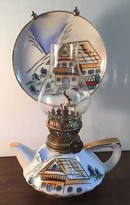 "Vintage Trimont Ware Ceramic Hand Painted Finger Oil Lamp Japan 7"" Teapot"