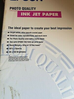 Epson A3 Matte Coated Photo Quality Ink Jet Paper 102Gsm - 100 Sheets C13S041068