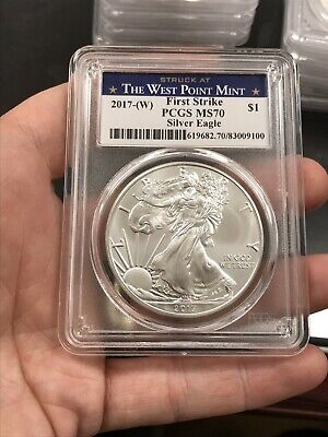 2017(W) $1 American Silver Eagle PCGS MS70 First Strike West Point Label