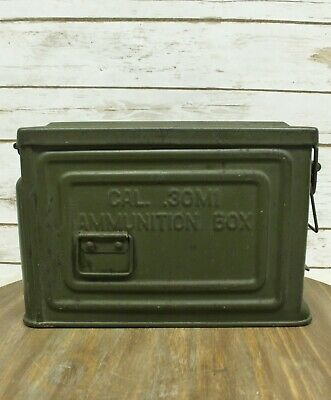 WWII Reeves .30 Cal Ammo Box Can U.S. Army Flaming Bomb Metal Good Condition