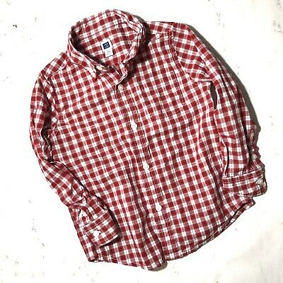 Janie And Jack Shirt Button Down Red White Gingham Check Plaid Toddler Boy 2T