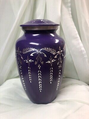 Purple and Silver Urn for Human Ashes--Large