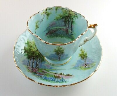 Aynsley Blue Bell Blue Scenic Tea Cup & Saucer England