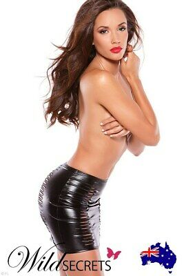 NEW Allure Risque Slashed Black Mini Skirt, Leather Vinyl Latex, Wild Secrets