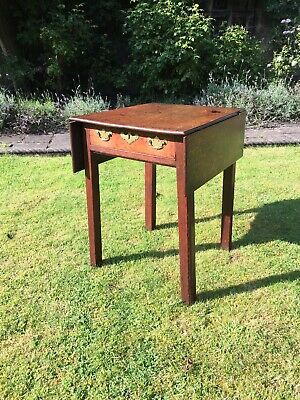 Small Antique Mahogany Pembroke Drop Leaf Dining Table With Drawer