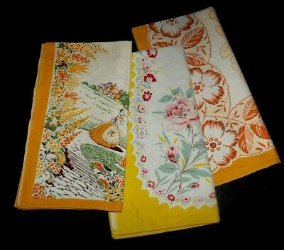 Fabric Remnants Vintage Cotton Table Cloths Recycle Craft BULK LOT * Have Faults