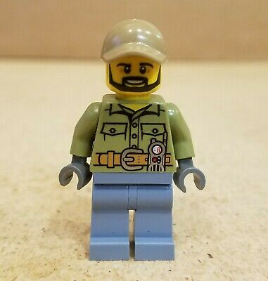 LEGO New City Volcano Explorer Worker Minifigure with Shovel and Hat
