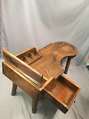Cobblers Bench Antique Wood Work Station Refinished Coffee Table With Drawer Lid