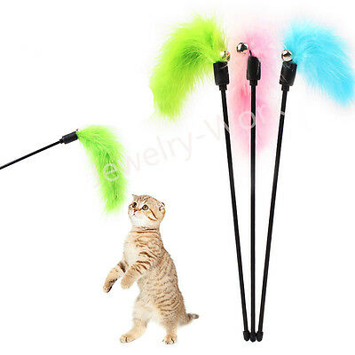 Funny Cat Kitten Teaser Turkey Feather Interactive Stick Wire Chaser Wand Toy