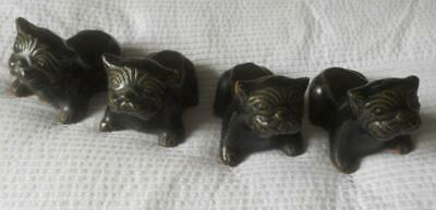 Set 4 Antique Glazed Solid Pottery Foo Dogs Feet For Jardiniere Plant Pot
