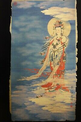 "Very Large Old Chinese Paper Painting ""GuanYin"" Buddha ""LiuXiaoMin"" Marks"