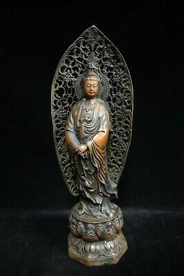 "Rare Large Old Chinese Pure Bronze ""GuanYin"" Buddha Standing Statue"