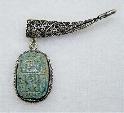 Signed Sterling Egyptian Revival Faience Scarab Amulet Detailed Filagree Brooch