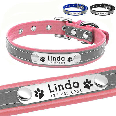 Reflective Pet Personalized Collar ID Engrave Nameplate Tag for Small Medium Dog