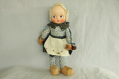Vintage Dutch Girl Character Cloth Doll Wooden Shoes Sewing Spools Of Thread