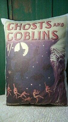 Large Farm Primitive Vintage Cabin Halloween Ghost Goblin Witch Cat Book Pillow