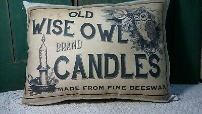 Large Primitive Victorian Vintage Farm Cabin Wise Owl Beeswax  Candles Pillow