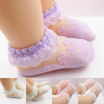 1 Pair Baby Girls Kids Sock Cotton Lace Breathable TUTU Socks Frilly Ankle Sock