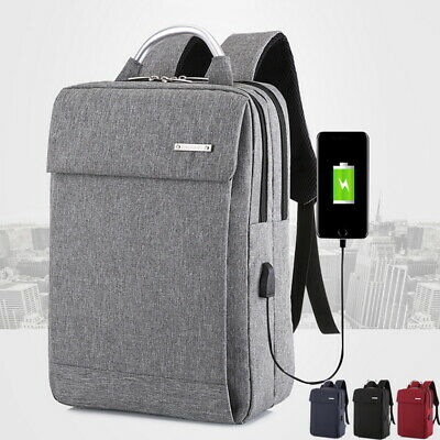 Mens Anti-Theft Laptop Backpack Travel Business School Bag USB Charger Rucksack